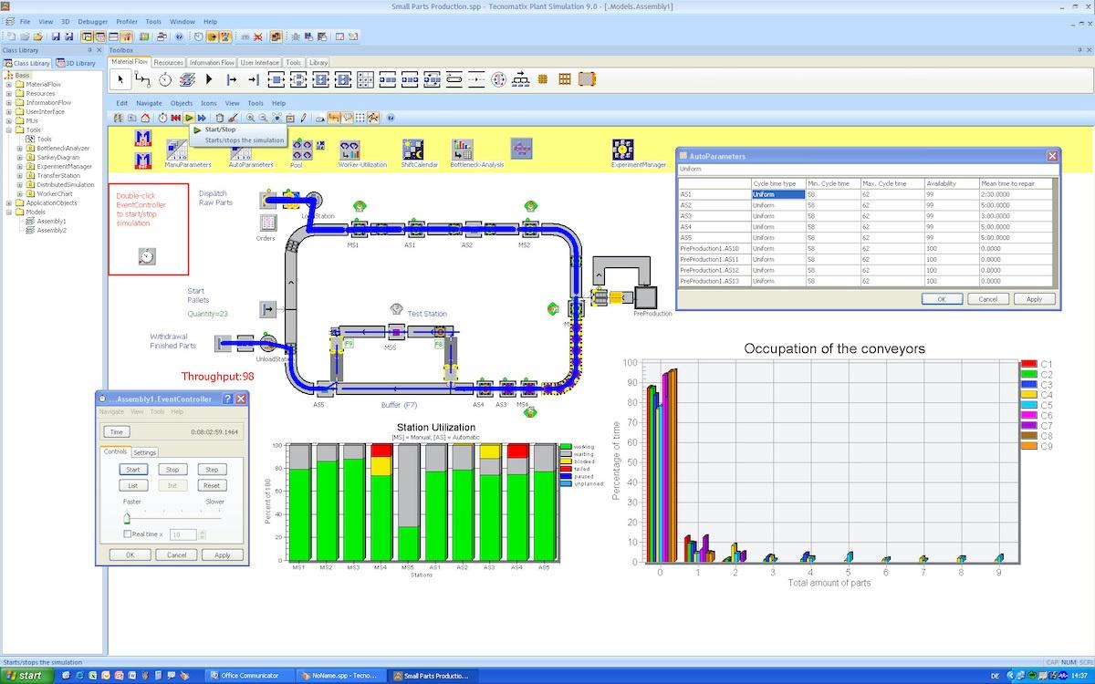 Tecnomatix Plant Simulation Small Part Assembly
